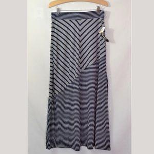 Seven7 Striped Elastic Waist Long Skirt Size S